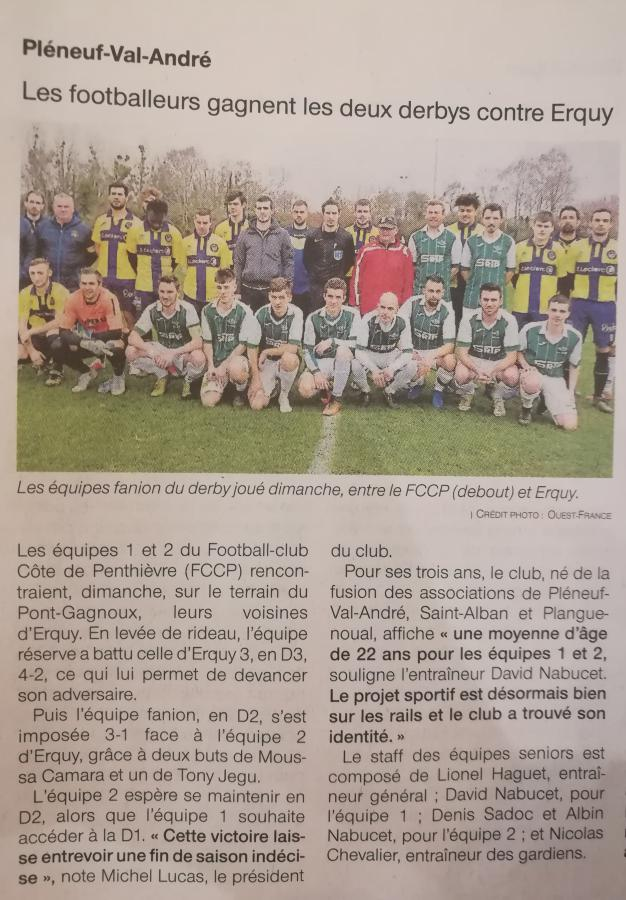 Article Ouest France - 05-03-19