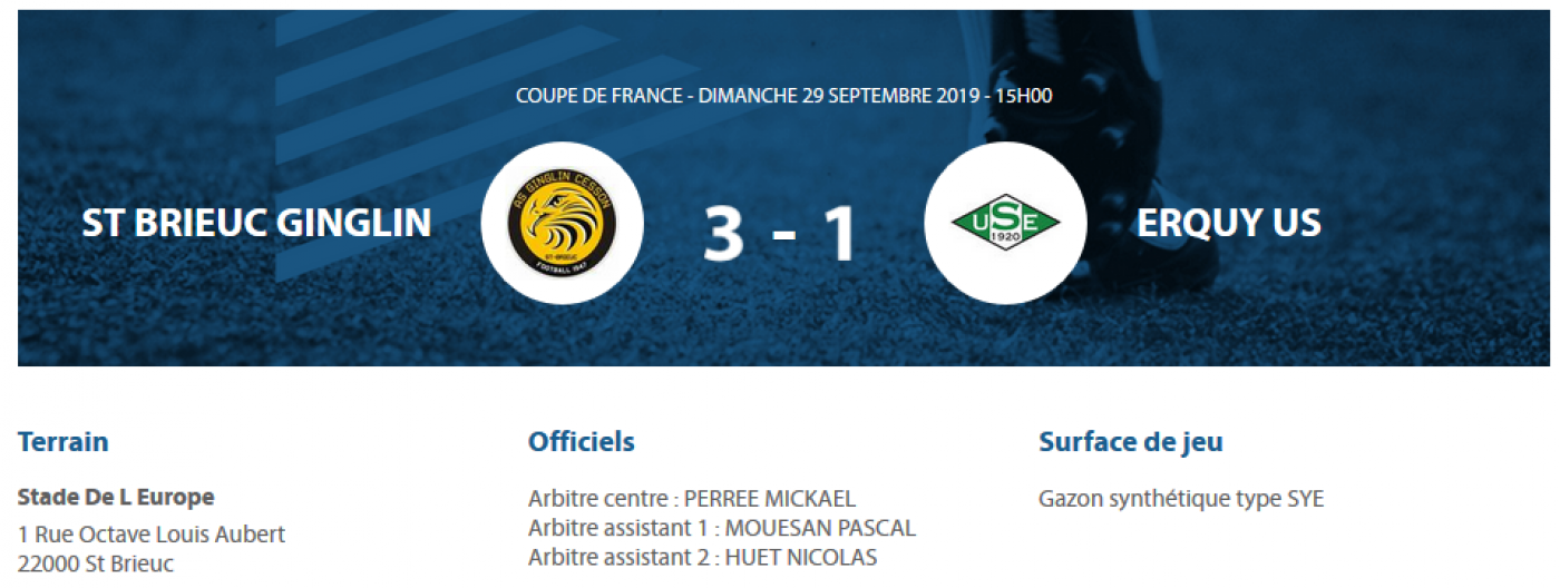 [CDF] AS St-Brieuc Ginglin 3 - 1 US Erquy